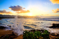 Splashing on the Shoreline at Sunset in Hawaii, North Shore, Oahu, Haleiwa